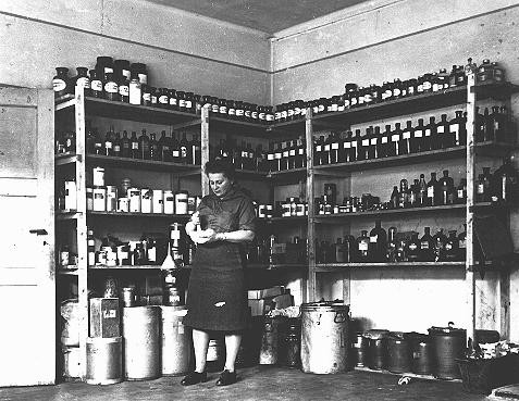 The American Jewish Joint Distribution Committee pharmacy in the displaced persons camp at Bergen-Belsen. [LCID: 46351]