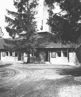 View of the crematorium building at the Dachau concentration camp. [LCID: 08057]