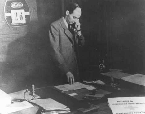 Raoul Wallenberg in his office in the Swedish legation. [LCID: 74026]