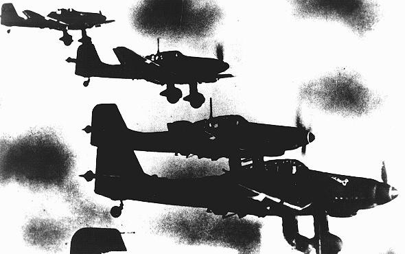 "<p>German Stuka dive-bombers fly over Yugoslavia during the German <a href=""/narrative/6153"">invasion of Yugoslavia</a>, which began on April 6, 1941. <a href=""/narrative/11457"">Yugoslavia</a>, ca. April 6, 1941.</p>"