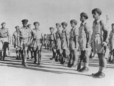 "<p>Brigadier Ernest Frank Benjamin, commanding officer of the <a href=""/narrative/4750"">Jewish Brigade</a>, inspects the Second Battalion. Palestine, October 1944.</p>