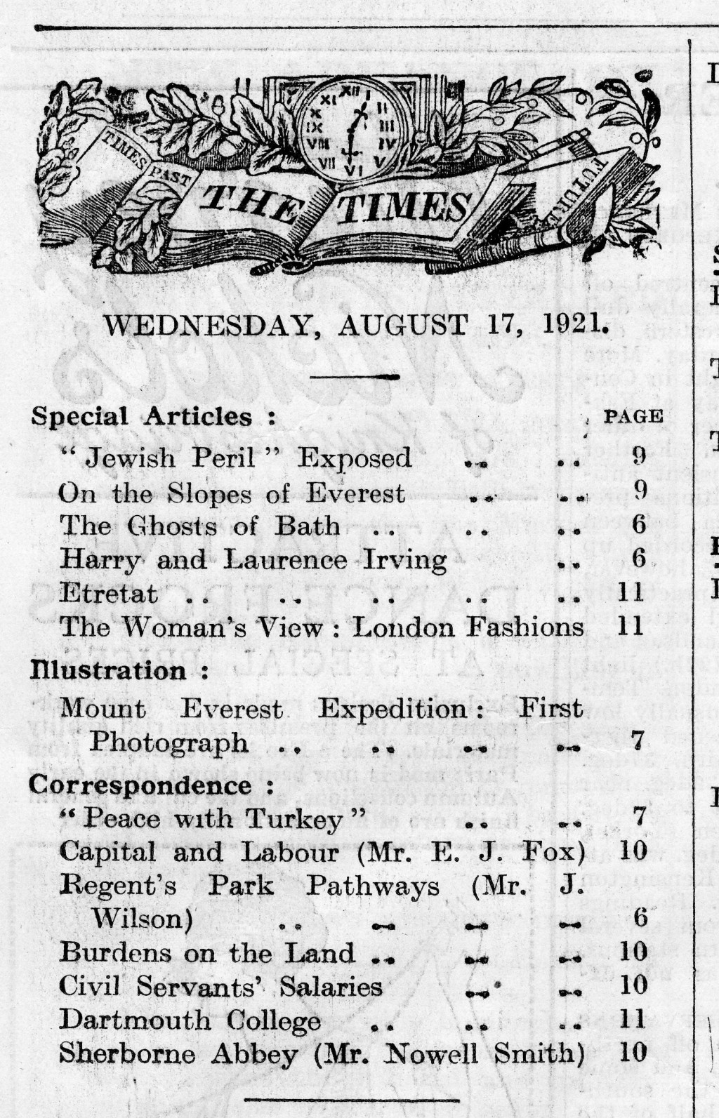 The Times, August 17, 1921 [LCID: 2006ukyb]