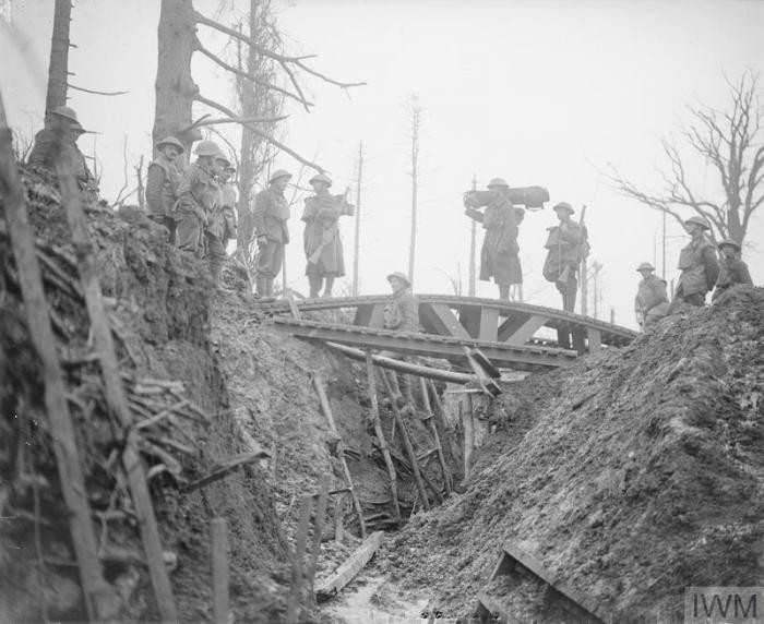 German withdrawal to Hindenburg line, world war I, 1917, trench bridge over a former German trench. Gommecourt.