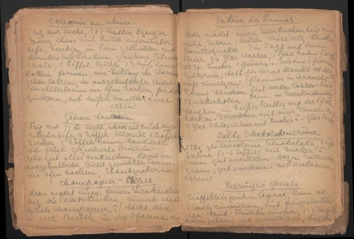 Another page of recipes from Eva Oswalt's cookbook she created while interned at Ravensbrück