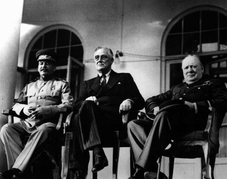 "<p>Soviet leader Joseph Stalin (left), US president <a href=""/narrative/10829"">Franklin D. Roosevelt</a> (center), and British prime minister Winston S. Churchill (right) at the Tehran Conference. Tehran, Iran, between November 28 and December 1, 1943.</p>"