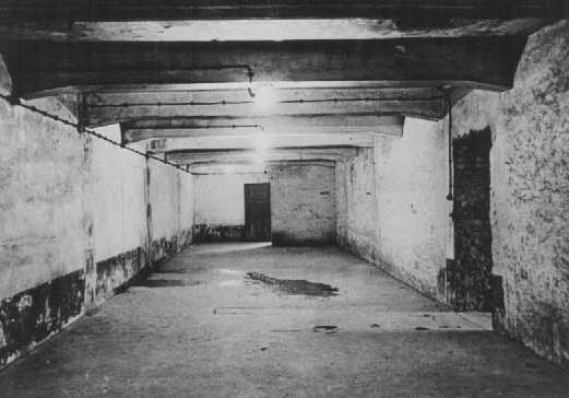 """<p><a href=""""/narrative/4537"""">Gas chamber</a> in the main camp of <a href=""""/narrative/3673"""">Auschwitz</a>. Photograph taken immediately after liberation. Poland, January 1945.</p>"""