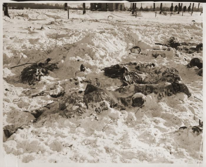 <p>Bodies of US soldiers killed by Waffen SS troops during the Malmedy Massacre on December 17, 1944. Photograph taken in January 1945.</p>