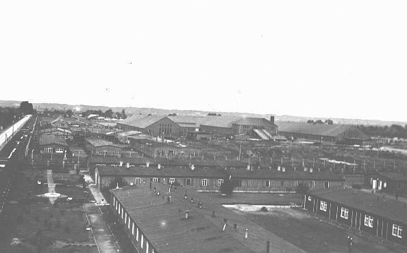 """<p>View of the <a href=""""/narrative/6811"""">Neuengamme</a> concentration camp. Neuengamme, Germany, 1945.</p>"""