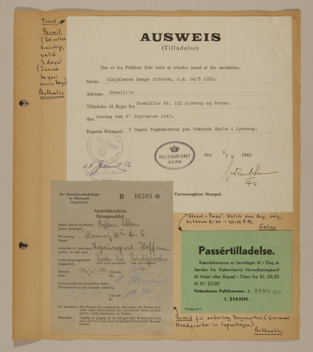 "<p>Page from volume 3 of a set of scrapbooks compiled by Bjorn Sibbern, a Danish policeman and resistance member, documenting the German occupation of <a href=""/narrative/4236"">Denmark</a>. Bjorn's wife Tove was also active in the Danish resistance. After World War II, Bjorn and Tove moved to Canada and later settled in California, where Bjorn compiled five scrapbooks dedicated to the Sibbern's daughter, Lisa. The books are fully annotated in English and contain photographs, documents and three-dimensional artifacts documenting all aspects of the German occupation of Denmark. This page contains both authentic and false permits and passes.</p>"