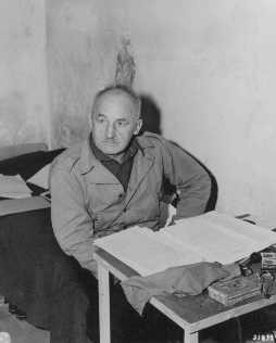 <p>Defendant Julius Streicher in his prison cell at Nuremberg. </p>