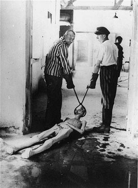 <p>Survivors of the Dachau concentration camp demonstrate the operation of the crematorium by dragging a corpse toward one of the ovens. Dachau, Germany, April 29–May 10, 1945.</p>