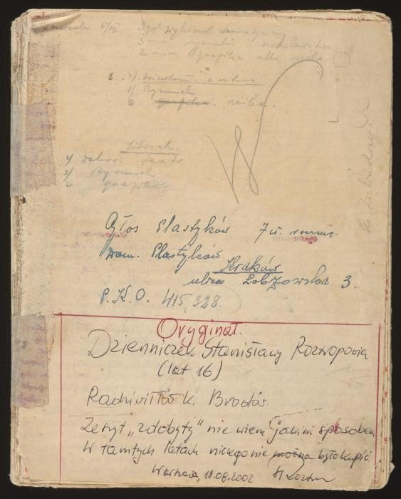 """<p>Stanislava Roztropowicz kept a diary from 1943-1944. In it, she describes her family's decision to hide an abandoned <a href=""""/narrative/7722"""">Jewish girl</a>, Sabina Heller (Kagan).</p> <p>Sabina Kagan was an <a href=""""/narrative/2562"""">infant</a> when <a href=""""/narrative/10800"""">SS</a> mobile killing squads began rounding up Jews in her <a href=""""/narrative/4879"""">Polish</a> village of Radziwillow in 1942. Her parents persuaded a local policeman to hide the family. The policeman, however, soon asked the Kagans to leave but agreed to hide baby Sabina. Her parents were captured and <a href=""""/narrative/6590"""">killed</a>. Sabina was concealed in a dark basement, with minimal food and clothing. She was discovered and taken in by the Roztropowicz family in 1943.</p> <p>This is the front cover of the diary kept by Stanislava, one of Sabina's <a href=""""/narrative/3515"""">rescuers</a>. Stanislava recorded events of the <a href=""""/narrative/2388"""">war</a>, updates on the eldest Roztropowicz child who was in <a href=""""/narrative/3384"""">forced labor</a>, and the progress of Sabina, whom the family decided to call """"Inka.""""</p>"""