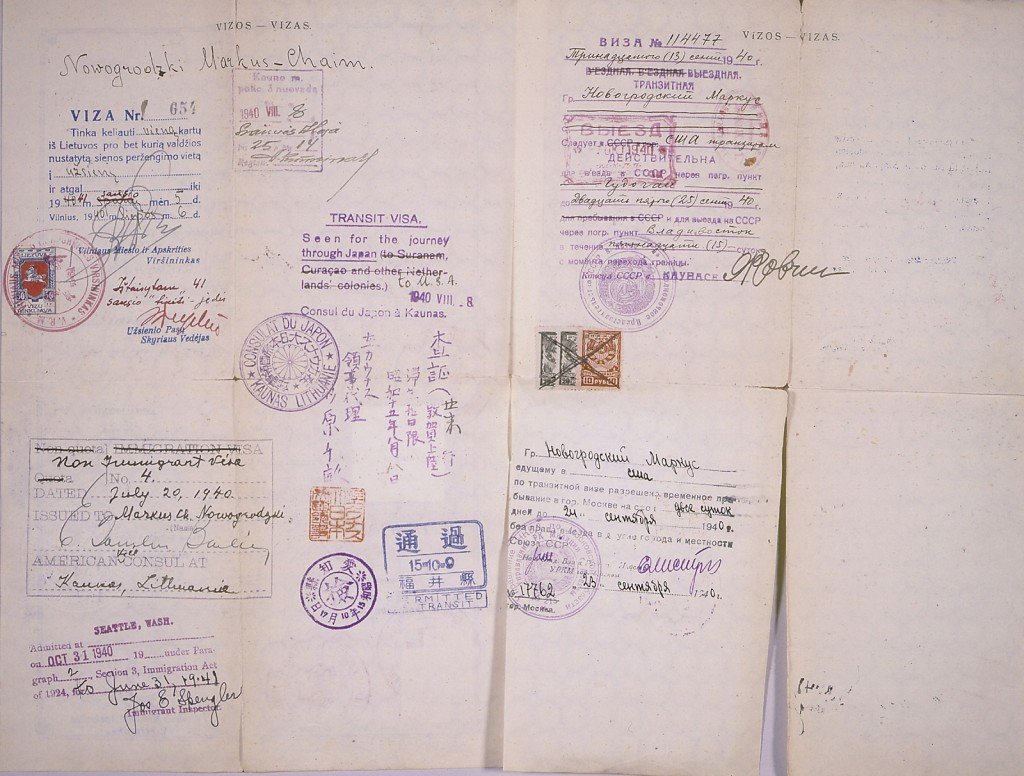 <p>A Lithuanian safe conduct pass bearing a stamp for transit through Japan (from Chiune Sugihara), two Soviet transit visas, a Lithuanian stamp, a U.S. non-immigrant visa, and a U.S. entry stamp from Seattle, Washington. [From the USHMM special exhibition Flight and Rescue.]</p>