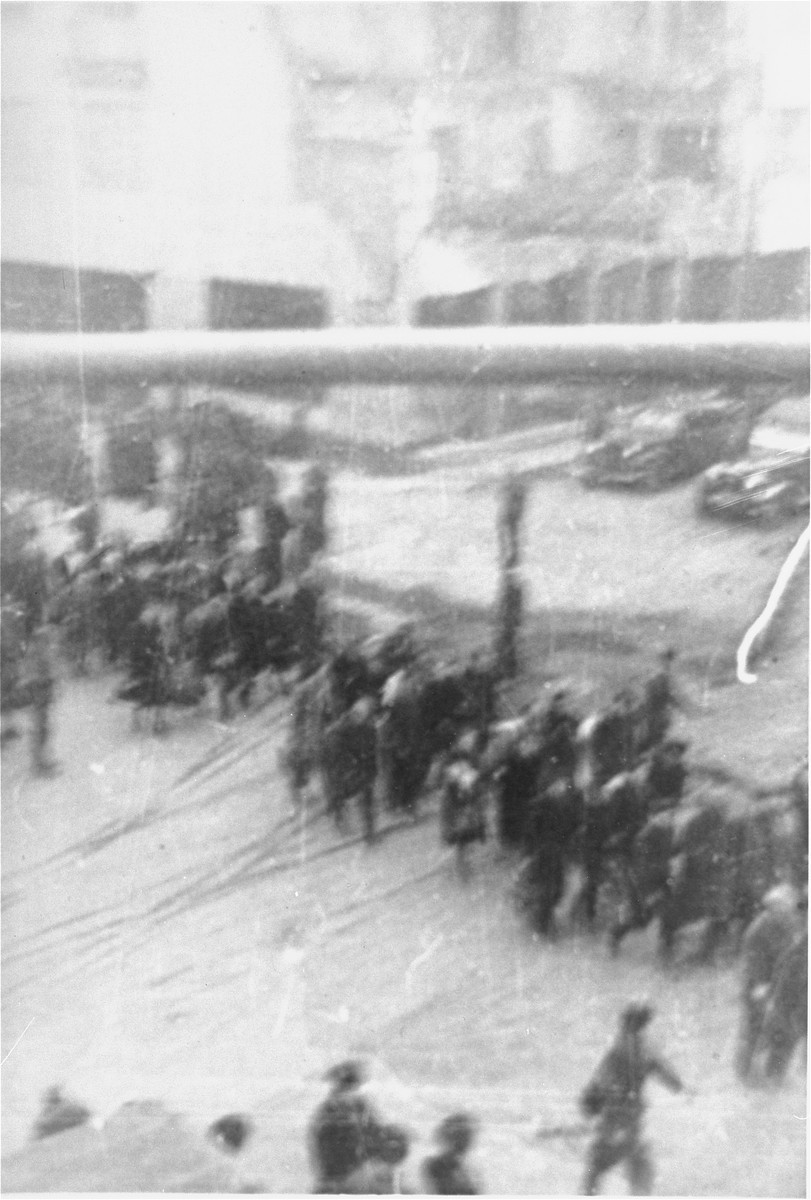 Deportation of Jews from the Warsaw ghetto during the uprising. [LCID: 80088]