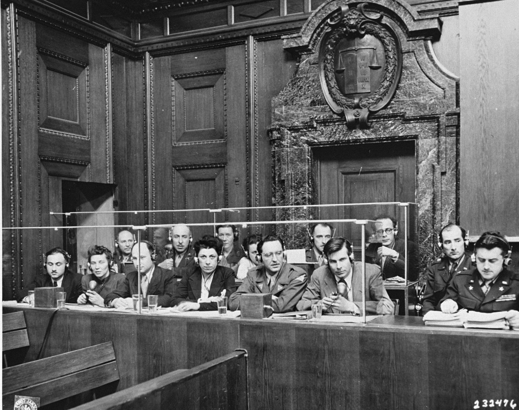 View of the interpreters' section in the courtroom during the International Military Tribunal. [LCID: 82954]