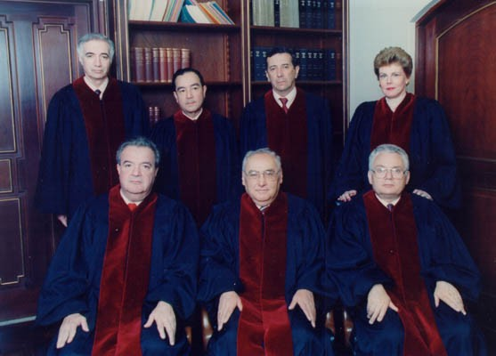 Judge Thomas Buergenthal (front row, right) with other members of the Inter-American Court of Justice in San Jose, Costa Rica. [LCID: buerg7]