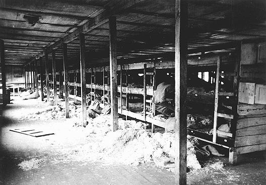 The interior of a barracks for foreign Jews in the Kaiserwald concentration camp near Riga.