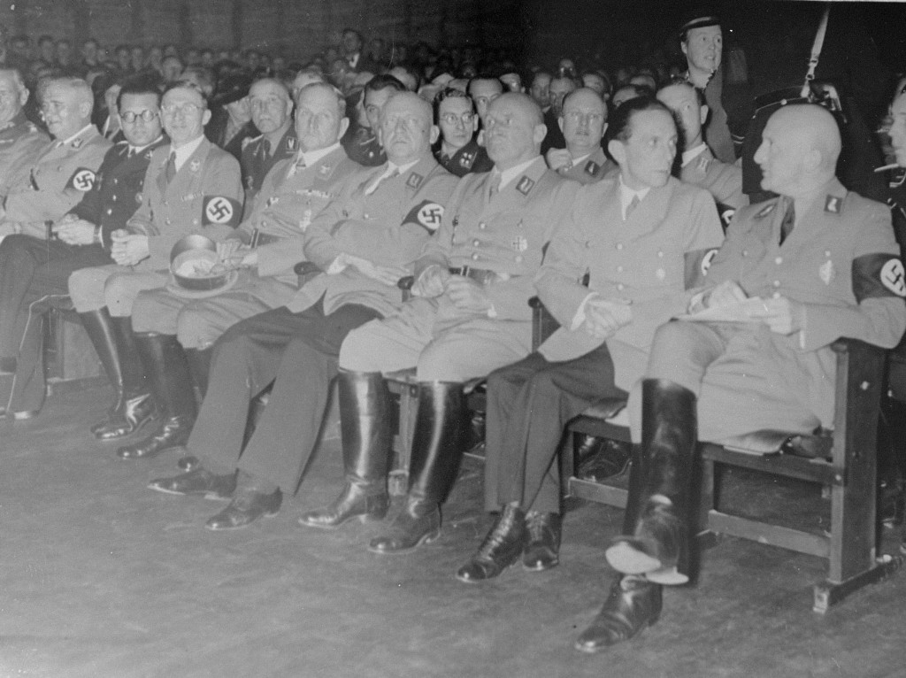 "<p>Nazi district leader of Franconia Julius Streicher (right), propaganda minister Joseph Goebbels (second from right), and other Nazi officials attend the opening of the exhibition <a href=""/narrative/11815""><em>Der ewige Jude</em></a> (The Eternal Jew). Munich, Germany, November 8, 1937.</p>"