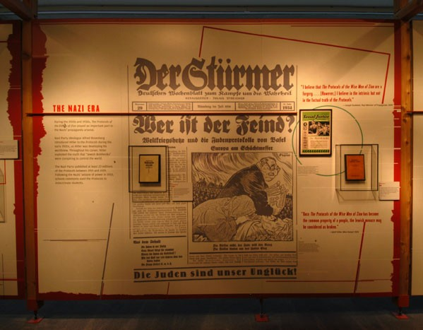 The Museum's exhibition demonstrates how the Nazis used the 'Protocols' to spread hatred of Jews. [LCID: prot2]