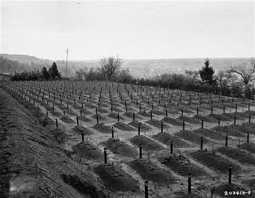 <p>Pekuburan di Hadamar tempat korban pembantaian eutanasia di Hadamar dikuburkan. Foto ini diambil menjelang akhir perang. Hadamar, Jerman, April 1945.</p>