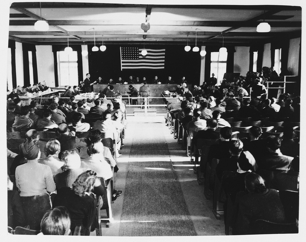View of the courtroom during the Dachau concentration camp trial. [LCID: 61096]