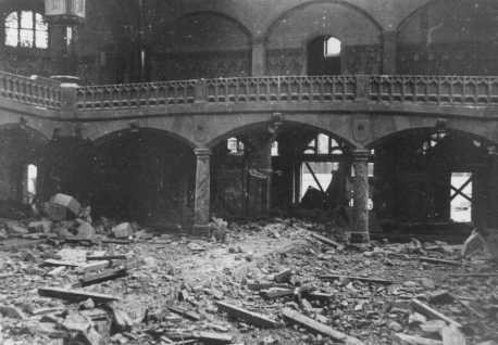 "<p>Interior of a synagogue destroyed during <a href=""/narrative/4063/en"">Kristallnacht</a> (the ""Night of Broken Glass""). Dortmund, Germany, November 1938.</p>"
