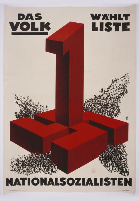"<p><a href=""/narrative/65"">Election</a> poster reading ""The People Vote Listing One: Nationalsocialism,"" 1932-1933</p>"