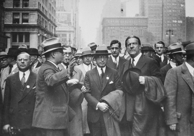 "<p>Dr. Bernard Deutsch, president of the <a href=""/narrative/7200/en"">American Jewish Congress</a> (center) and Rabbi <a href=""/narrative/10697/en"">Stephen S. Wise</a> (right) participate in a mass demonstration against Nazi treatment of German Jews. The demonstration took place on the same day as the <a href=""/narrative/7631/en"">book burnings</a> in Germany. New York, United States, May 10, 1933.</p>"