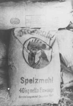 "<p>Sack of wood flour (finely powdered wood or sawdust) used to make substitute bread. The official ration of this ""bread"" for <a href=""/narrative/10135"">Soviet prisoners of war</a> was less than 5 ounces a day. Deblin, Poland, 1942 or 1943.</p>"