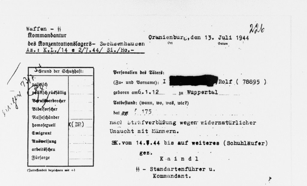 "<p>An official order incarcerating the accused in the Sachsenhausen concentration camp for the ""offence"" of homosexuality. Germany, July 1944. </p>
