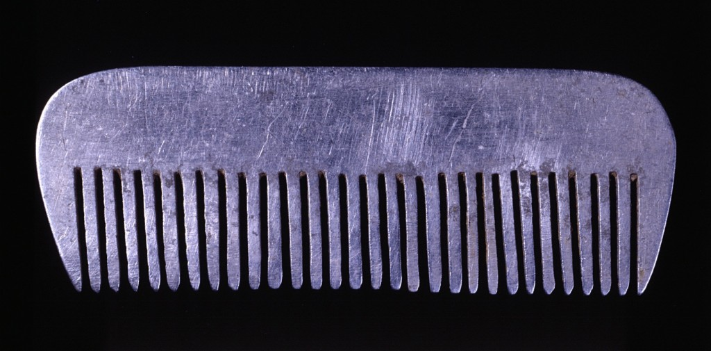 <p>Yona Wygocka Dickmann fashioned this aluminum comb from airplane parts after the SS transferred her from Auschwitz to forced labor in an airplane factory in Freiburg, Germany, in November 1944. She used the comb as her hair, shaven in Auschwitz, began to grow back.</p>