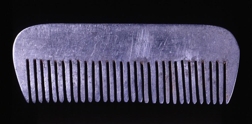 <p>Йона Выгоцка Дикманн сделала эту алюминиевую расческу из деталей самолета после того, как в ноябре 1944 года эсесовцы отправили ее из Освенцима в лагерь принудительного труда при авиационном заводе во Фрайбурге (Германия). Она пользовалась этой расческой, когда ее волосы, остриженные в Освенциме, снова начали отрастать.</p>