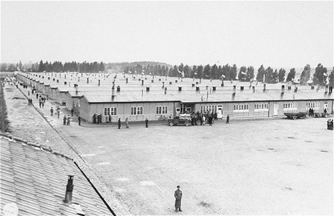 View of prisoners' barracks soon after the liberation of the Dachau concentration camp. [LCID: 37255]