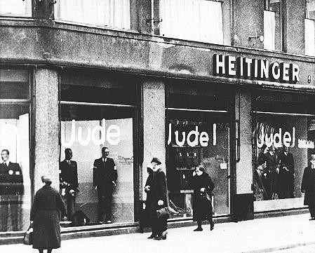 "<p>Windows of a Jewish-owned store painted with the word <em>Jude</em> (Jew). <a href=""/narrative/5908"">Berlin</a>, Germany, June 19, 1938.</p>"