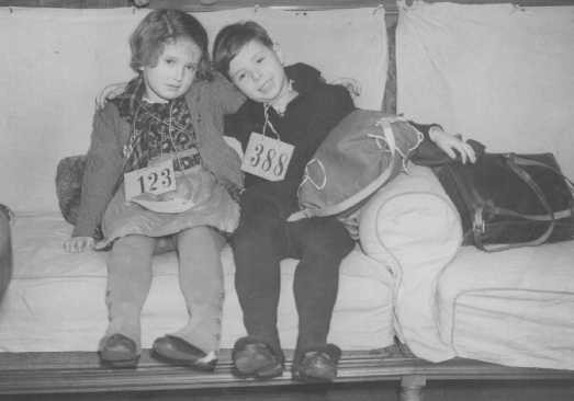 Jewish refugee children, part of a Children's Transport (Kindertransport) from Germany, upon arrival in Harwich. [LCID: 69286]