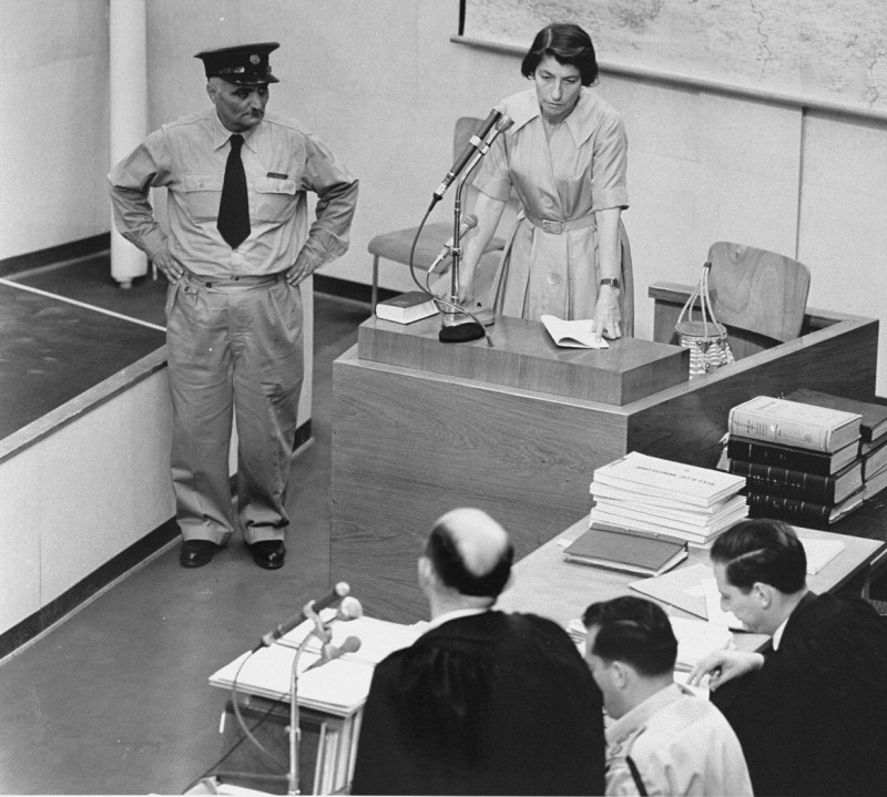 "<p>Witness Zivia Lubetkin Zuckerman testifies during the <a href=""/narrative/3359"">trial of Adolf Eichmann</a>. Jerusalem, Israel. May 3, 1961.</p>"
