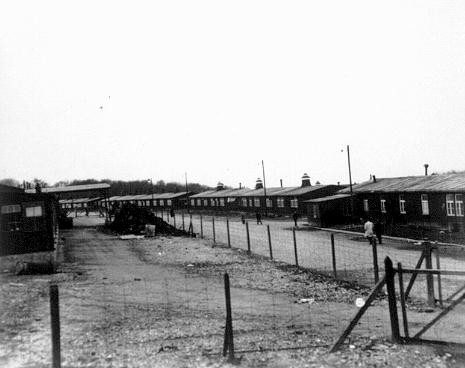 A view of barracks in the Buchenwald concentration camp. [LCID: 75705]