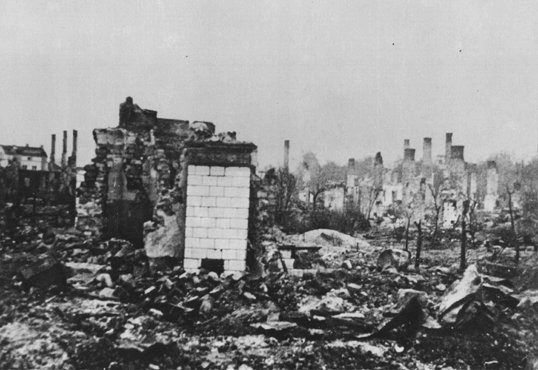 "<p>A Polish town lies in ruins following the <a href=""/narrative/2103"">German invasion of Poland</a>, which began on September 1, 1939.</p>"