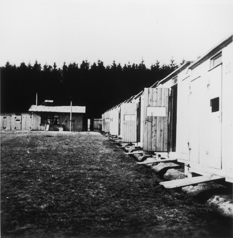 <p>View of barracks in the Lety internment camp. Lety, Czechoslovakia, wartime.</p>