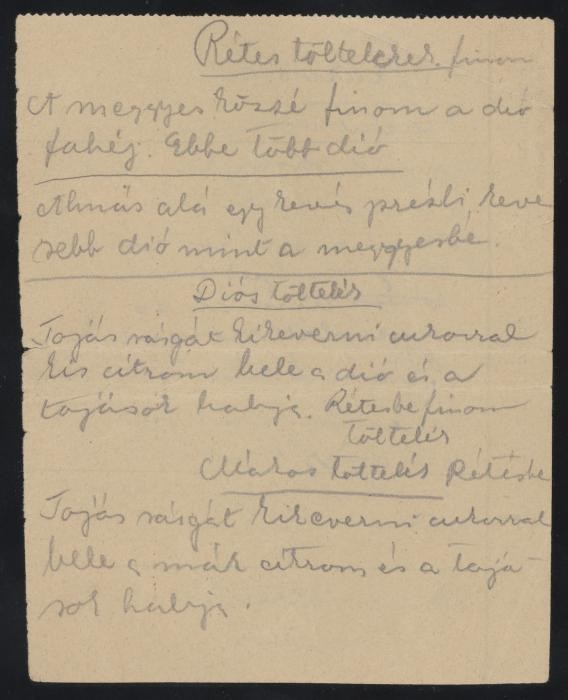 """Ilona Kellner's recipe for various strudel fillings,"""" written on the back of a blank munitions factory form"""