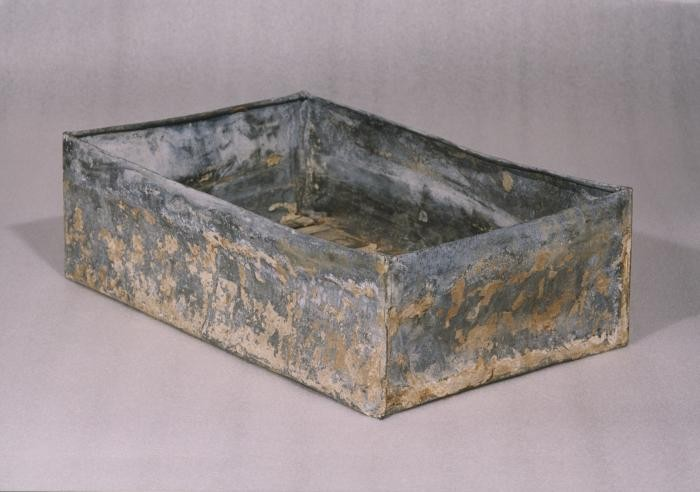"<p class=""document-desc moreless"">One of the ten metal boxes in which portions of the Oneg Shabbat archive were hidden and buried in the Warsaw ghetto. The boxes are currently in the possession of the Jewish Historical Institute in Warsaw. This view is of an open box without the lid.</p>