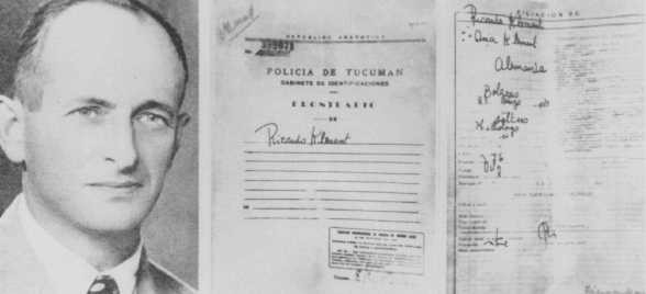False identification papers used by Adolf Eichmann while he was living in Argentina under the assumed name Ricardo Klement. [LCID: 87781]