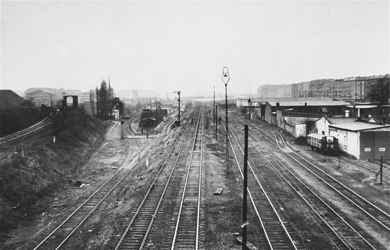 <p>Rail tracks at the Putlitz Street railroad station in Berlin. Jews were deported from this station. Berlin, Germany, date uncertain.</p>