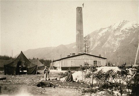<p>View of the crematorium building in the Ebensee subcamp of the Mauthausen concentration camp. This photograph was taken after the liberation of the camp. Ebensee, Austria, after May 6, 1945.</p>