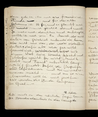 Page from a diary written by Elizabeth Kaufmann while living with the family of Pastor André Trocmé in Le Chambon-sur-Lignon. [LCID: n06970]