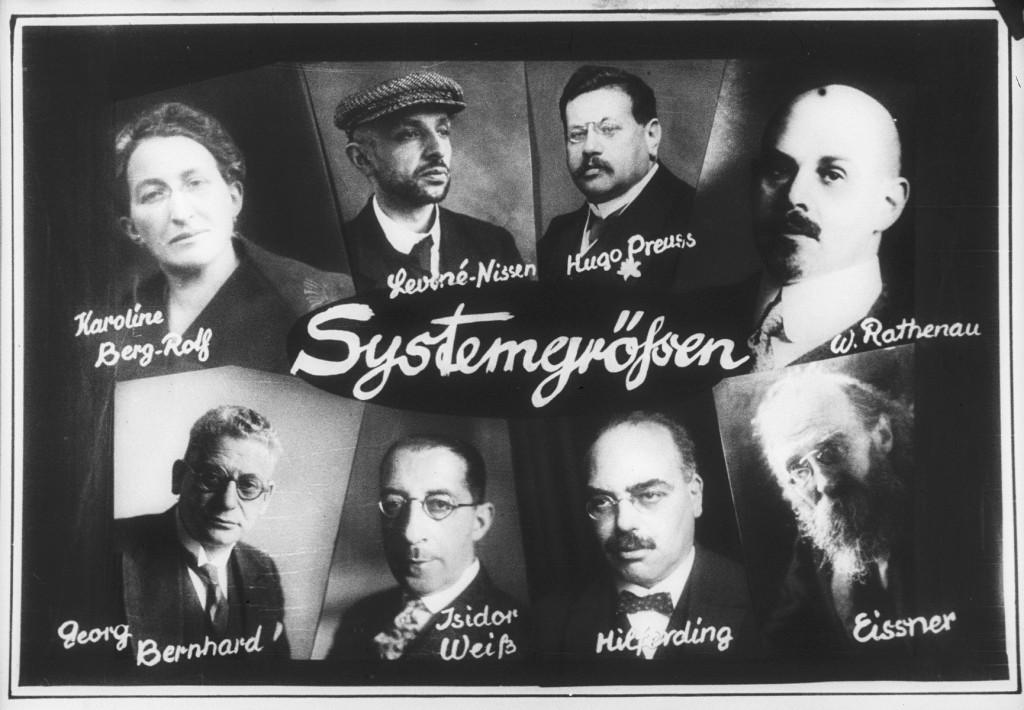 Nazi propaganda depicting prominent Jewish figures