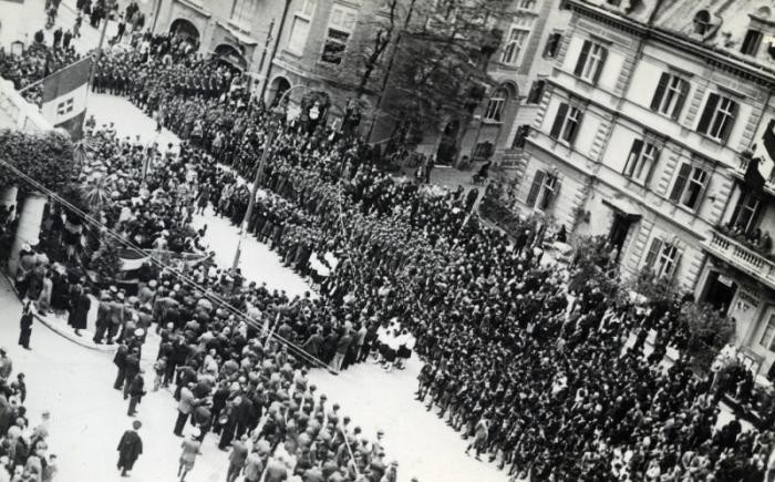 "<p class=""document-desc moreless"">Aerial photograph of a Fascist rally in Merano, Italy, 1935–37.</p>