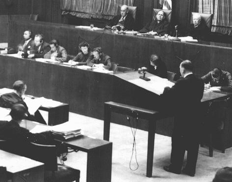 <p>Justices and court reporters during the RuSHA trial (Case #8 of the Subsequent Nuremberg Proceedings). Nuremberg, Germany, October 1947-March 1948.</p>