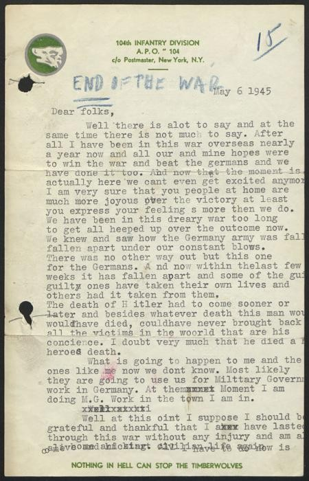 Letter page 1 of 2 from Rudolph Daniel Sichel to his family discussing the end of the War in Europe