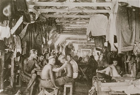 Crowded living conditions: prisoners inside a barracks at Gurs detention camp. [LCID: 86453]